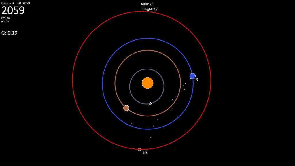 Fast transit to Mars simulation (ISU project)